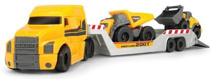 Грузовик прицеп с двумя автомобиляи Volvo: горнорудной грузовик, погрузчик, 9 см, подвижные части, 32 см Dickie Toys 3725005