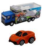 Набор грузовик + машинка die-cast оранжевая, спусковой механизм 1:60 Funky toys FT61052