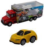 Набор грузовик + машинка die-cast  желтая,  спусковой механизм 1:60 Funky toys FT61053