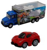 Набор грузовик + машинка die-cast  красная, спусковой механизм 1:60 Funky toys FT61054