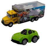 Набор грузовик + машинка die-cast  зеленая, спусковой механизм 1:60 Funky toys FT61055