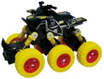 Квадроцикл die-cast 6*6, 18 см,  инерционный механизм, рессоры,  желтый  Funky toys FT61065