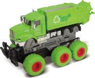 Мусоровоз с краш-эффектом, кабина die-cast, фрикционный, 6*6, зеленый, 1:43 Funky toys FT61088