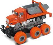 Мусоровоз с краш-эффектом, кабина die-cast, фрикционный, 6*6, оранжевый, 1:43 Funky toys FT61089