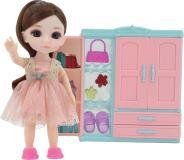 Кукла шарнирная Малышка Лили, игровой набор гардеробная, 16 см, Funky toys, FT72007