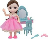 Кукла шарнирная Малышка Лили, игровой набор туалетный столик, 16 см, Funky toys, FT72011