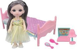 Кукла шарнирная Малышка Лили, игровой набор спальня, 16 см, Funky toys, FT72012